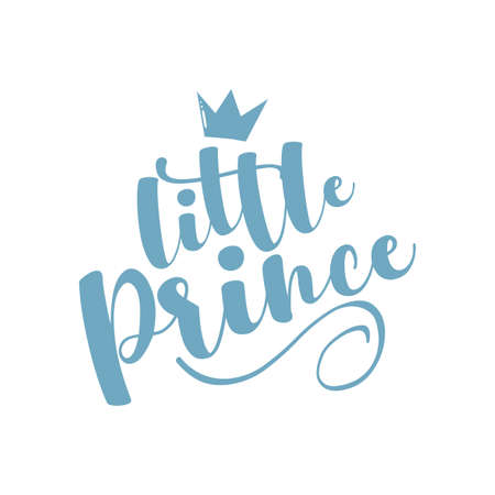 Little Prince - calligraphy with crown. Good for baby clothes, room decor, poster, greeting card, baby shower decoration, and gifts design.