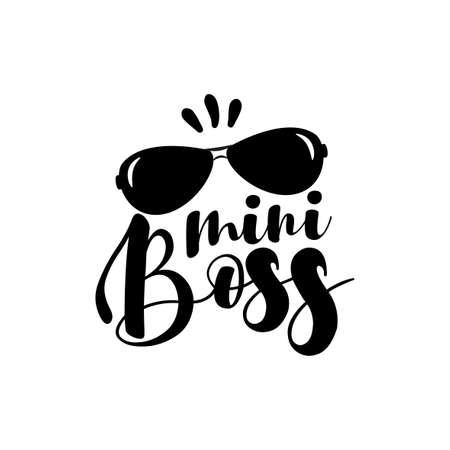 Mini Boss text, with sunglasses. Good for baby clothes, greeting card, poster, banner, textile print, and gift design.