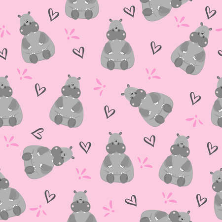 Cute Hippopotamus Seamless Pattern on a pink backgound. Good for wall paper, Baby room decor, textile print, wrapping paper, and gift design.