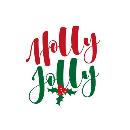 Holly Jolly - hand lettering holiday red and green inscription to christmas and new year celebration, calligraphy vector illustration. Ilustração