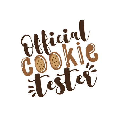 Official Cookie Tester- funny holiday calligraphy with cookies. Good for child clothes, textile print, poster, banner, and gift design. Ilustração