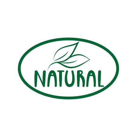 Natural logo green leaf label for veggie or vegetarian food package design. Isolated green leaf icon for vegetarian bio nutrition and healthy diet or vegan restaurant menu symbol.