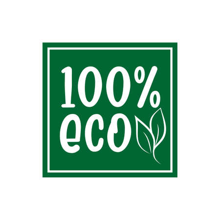 100% ECO- logo green leaf label for premium quality, locally grown, healthy food natural products, farm fresh sticker. Vector menu organic label, food product packaging bio emblem.