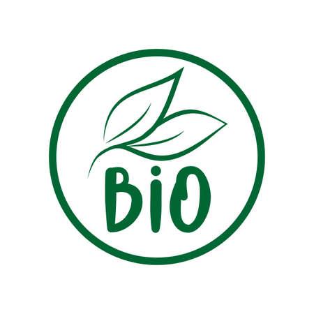Bio logo green leaf label for food package design. Isolated green leaf icon for vegetarian bio nutrition and healthy diet or vegan restaurant menu symbol. Ilustração