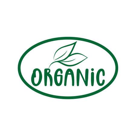 Organic logo green leaf label for veggie or vegetarian food package design. Isolated green leaf icon for vegetarian bio nutrition and healthy diet or vegan restaurant menu symbol.