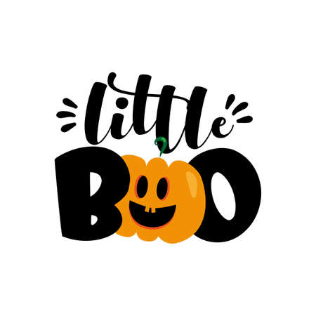 Little Boo - cute Halloween greeting with pumpkin. Good for baby clothes, greting card decoration, poster, and gift design.