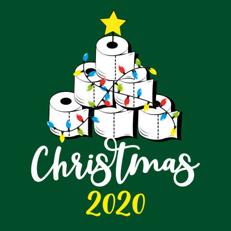 Christmas 2020 - Funny greeting card for Christmas in covid-19 pandemic self isolated period. Ilustração