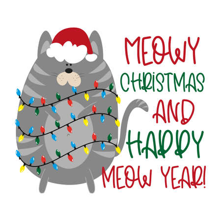 Meowy Christmas and Happy Meow Year! - Funny Christmas greeting with cute cat in Santa's cap. Good for poster banner, postcard, textile print mug, other gifts design. Ilustração