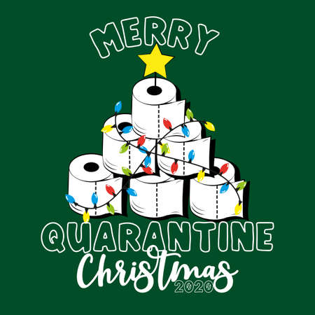 Merry Quarantine Christmas 2020-Funny greeting card for Christmas in covid-19 pandemic self isolated period.