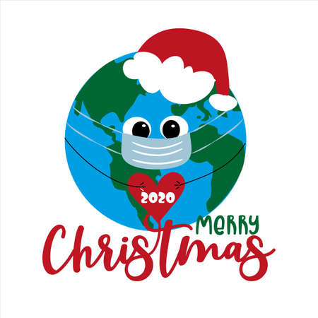 Merry Christmas 2020 - Cute Earth Planet in mask. Funny greeting card for Christmas and New Year in covid-19 pandemic self isolated period. Ilustração