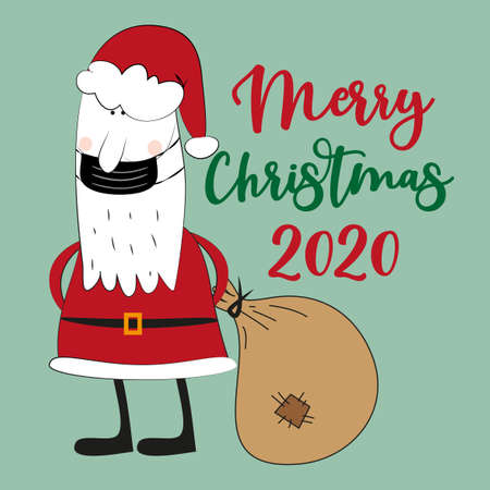 Merry Christmas 2020 - Santa Claus in face mask. Funny greeting card for Christmas in covid-19 pandemic self isolated period.