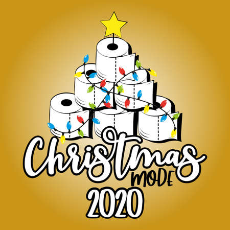 Christmas Mode 2020 - Funny greeting card for Christmas in covid-19 pandemic self isolated period. Ilustração