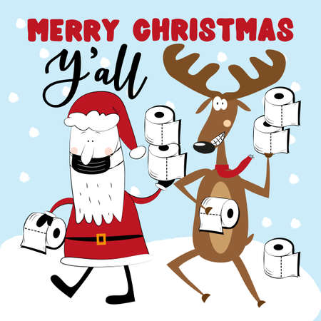 Merry Christmas Y'All - Santa Claus in mask and reindeer with toilet papers on snowy background. Funny greeting card for Christmas in covid-19 pandemic self isolated period. Ilustração