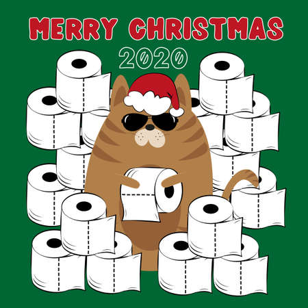 Merry Christmas 2020 - Cool cat in Santa's hat with toilet papers, on green backround. Funny greeting card for Christmas in covid-19 pandemic self isolated period.