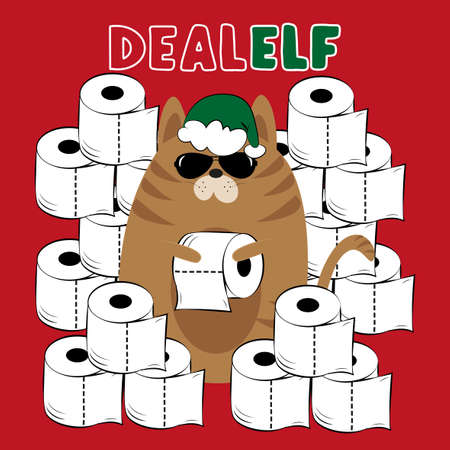 Dealer Elf cat with toilet papers, on red backround. Funny greeting card for Christmas in covid-19 pandemic self isolated period.