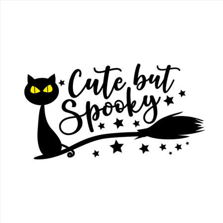 Cute but Spooky -Halloween vector illustration. Black cat in broom. Good for greeting card, T shirt print, party decoration, poster, and gift design. Ilustração