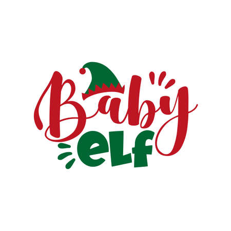 Baby Elf- cute Christmas text. Good for baby clothing, t shirt, card, poster, mug and gift design.
