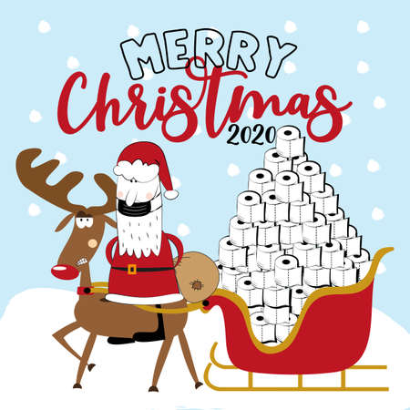 Merry Christmas 2020 -Funny angry reindeer and Santa Claus in facemask with toilet paper tower in sleigh. Funny greeting card for Christmas in covid-19 pandemic self isolated period.