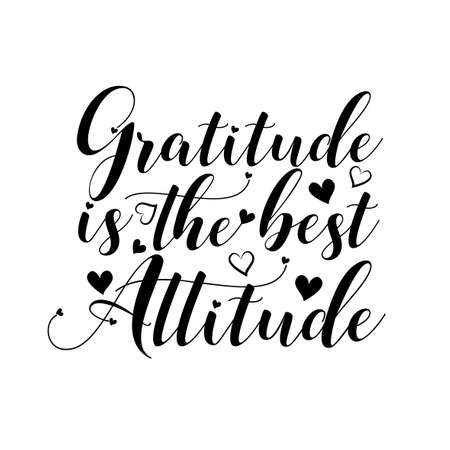 Gratitude is the best attitude- greeting for Thnaksgiving. Good textile print, greeting card, label, home decor, and gift design.