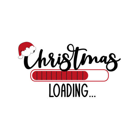 Christmas loading ... funny holiday symbol, with Santa's hat. Good for T shirt print, greeting card, poster, mug, and other gift design. Illusztráció