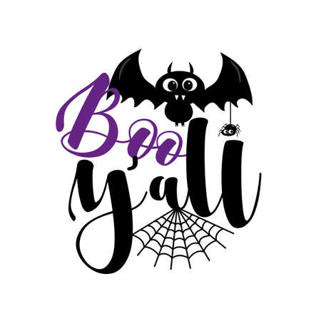 Boo Y'all - cute bat, and spider for Halloween. Good for Childhood, poster, greeting and invitation card, party decor, and gift design. 矢量图像