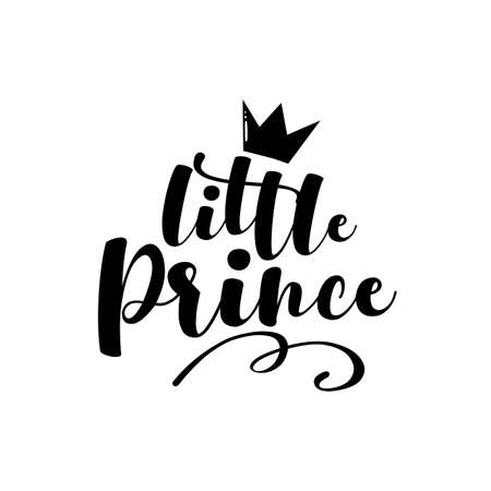 Little Prince - handwritten text with crown. Good for baby clothes, baby shower decor, greeting card, poster, and gift design.