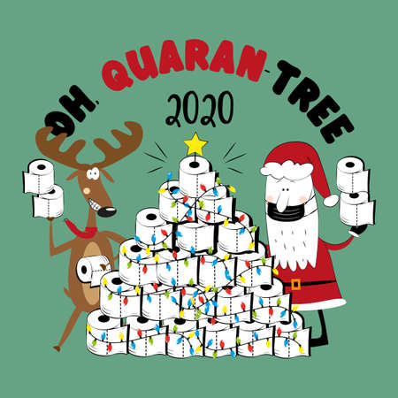 Oh, Quarant-tree 2020 - Funny reindeer and Santa Claus in facemask and toilet paper christmas tree. For greeting card, poster textile print, for Christmas in covid-19 pandemic self isolated period.