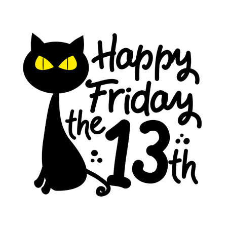 Happy Friday the 13th - black cat cartoon vector illustration