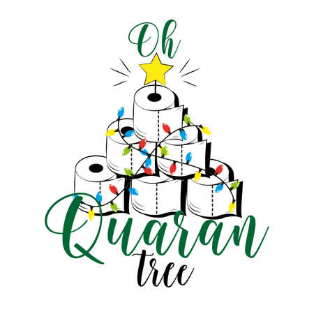 Oh Quarantree - funny toilet paper Christmas tree in covid-19 pandemic self isolated period. Çizim