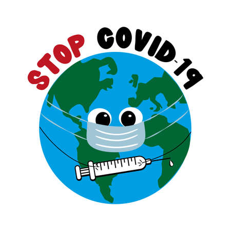 Stop Covid-19 - Cute Earth Planet symbol in face mask with vaccine.