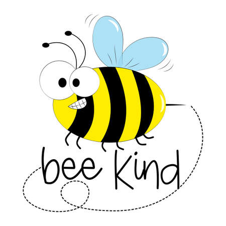 Bee Kind - a positive phrase with a cute smiley bee. Good for T shirt print, poster, card, baby clothes, decor and gift design.