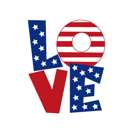 Love - United States of America Independence day typographic design for T shirt print, poster, brochure, greeting card template. Vector illustration.