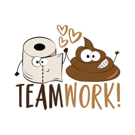 Teamwork! - Funny toilet paper and smiley poo. Good for T shirt print, card, poster, label, amd gift design.