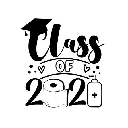 Class Of 2021- with toilet paper and Graduation Cap, in pandemic self isolated period. Template for graduation design, party, high school or college graduate, yearbook. Vektoros illusztráció