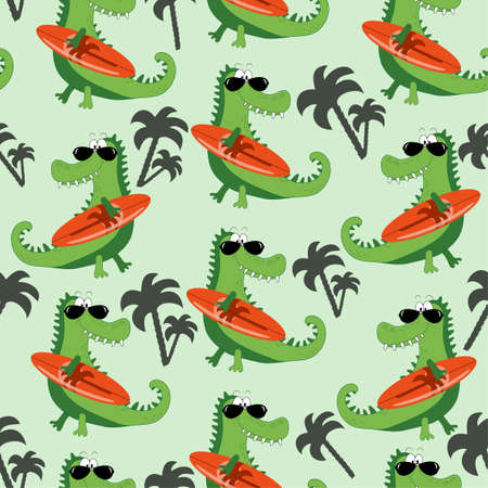 Hand drawing cute crocodile with surboard seamless pattern. Vector illustration design for fashion fabrics, textile graphics, prints.
