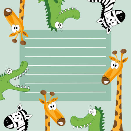 Frame with a variety of cute African animals. Funny card with empty space for text. Good for invitation card, note, scarpbook, ad, bookelt, and cover.