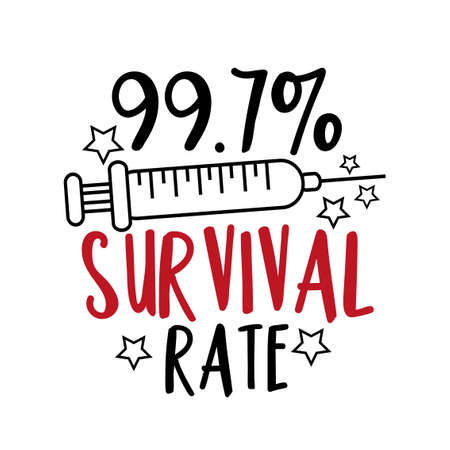 99.7% Survival Rate - happy slogan, pandemic self isolated period. Good for T shirt print, card, poster, and other gift design Vektoros illusztráció