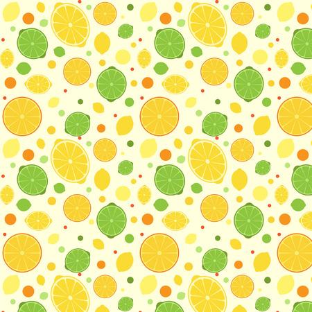 lemon lime: Seamless pattern con limone, lime e arancio Vettoriali
