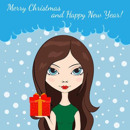 dar un regalo: Ilustraci�n de una muchacha un regalo en caja