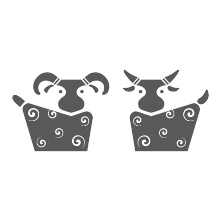 baa: Goat and sheep. Vector illustration. Icons.