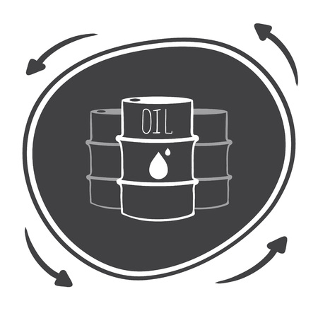 think tank: Hand drawn black barrels with oil labels Illustration