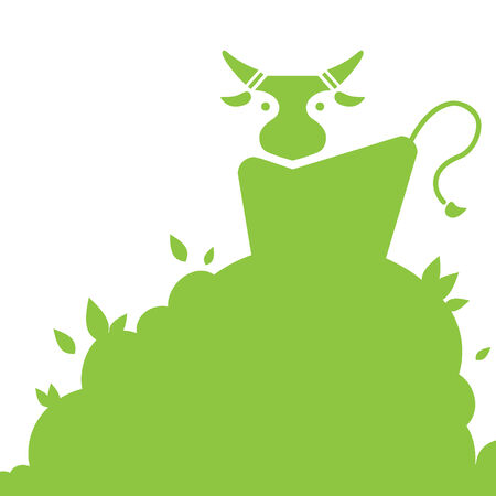 grass plot: silhouette cow on the grass, symbol of nature and natural products Illustration
