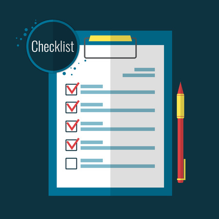 compliance: Clipboard checklist and pen in flat style. Vector illustration.