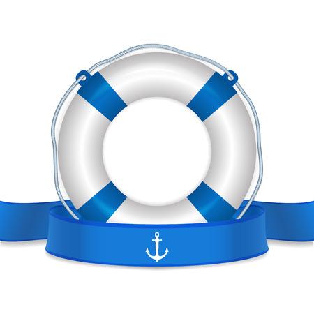 Lifebelt, life buoy and blue ribbon. life guard concept. Detailed vector Illustration.