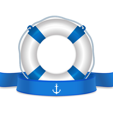 lifejacket: Lifebelt, life buoy and blue ribbon. life guard concept. Detailed vector Illustration.
