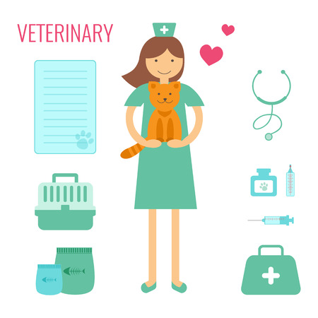 veterinary medicine: Veterinary medicine. Vector Veterinary elements style flat. Doctor with cat. Illustration