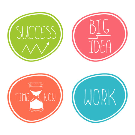 symbol: Set of business hand drawn stickers. Big idea, success, work, time now concept vector illustration.