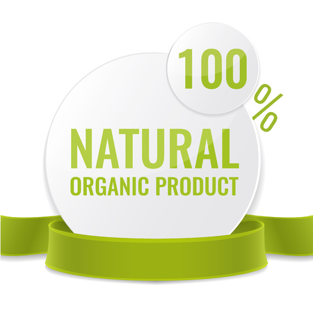recycling campaign: Promotion label for natural organic product.  Sale circle tags with green ribbon. Vector illustration design. Illustration