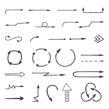 sketched arrows: Hand drawn arrows set, sketched style