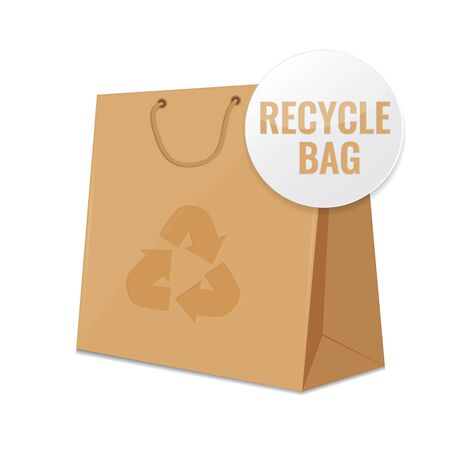 reusable: Brown craft recycle paper bag. Concept of reusable ecological package. illustration design. Stock Photo